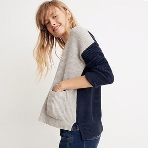 Madewell Patch Pocket Sweater in Colorblock. Nwt!